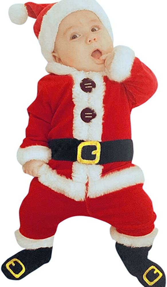 erthome ❤️ Baby Boy Clothes 0-24 Months 4PCS Infant Baby Santa Christmas Tops Socks Outfit Set Costume Hat Pants