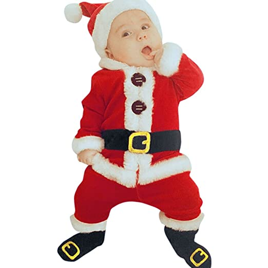 Sameno 4PCS Infant Baby Boy Girl Christmas Santa Tops Pants Hat Socks Outfit Set Costume (