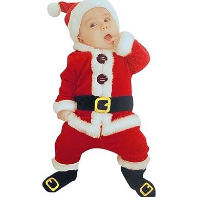 Disfraz Navidad Bebe Niña Niño Fossen 4PCS Conjunto de Ropa Papá Noel Tops+Pantalones + Sombrero + Calcetines: Amazon.es: Ropa y accesorios