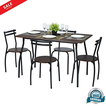 Breakfast Table And 4 Chairs 5 Piece Dining Set Table Rectangular Metal  Ergonomic Back Chairs Indoor