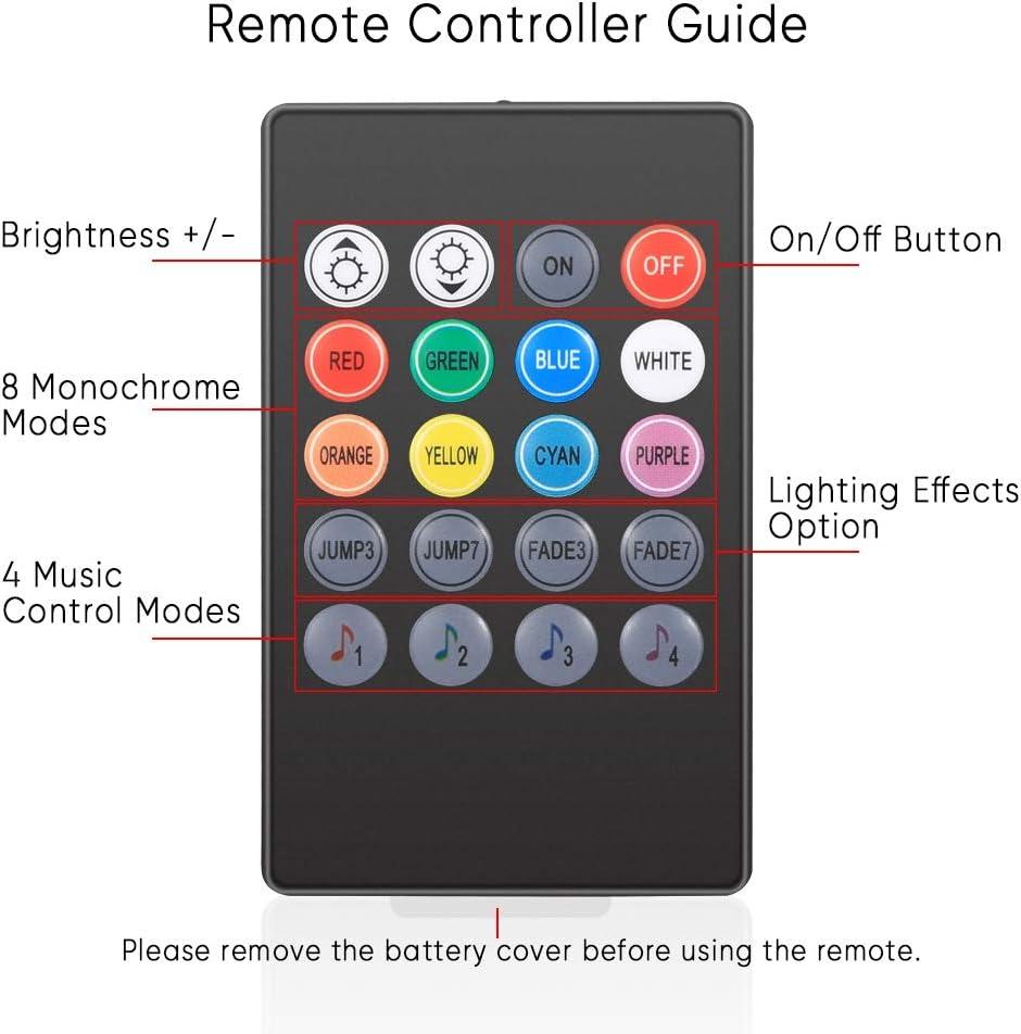 con Telecomando 12 LED per Striscia Striscia Luminosa a LED per Auto Interni 4 Modalit/à Musicali 4 Pezzi Luci Interne RGB per Auto Carica USB da 1 m 8 Colori 4 Modalit/à Illuminazione