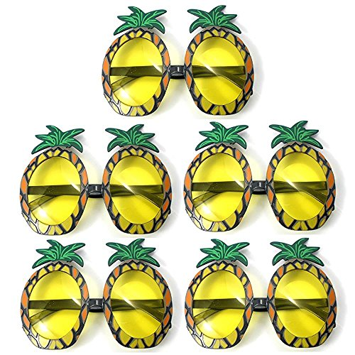 TUANTUAN 5 Pcs Funny Pineapple Shape Party Glasses Hawaiian Tropical Sunglasses for Summer Fancy Dress Party Costume Photo Props