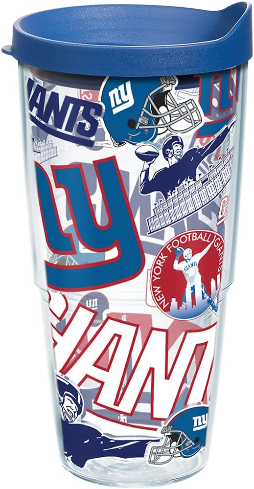 Tervis NFL New York Giants All Over Tumbler with Wrap and Blue Lid 24oz, Clear