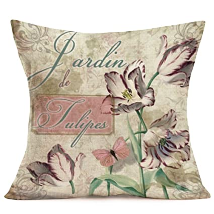 Throw Pillow Covers Set of 4 Cotton Linen Vintage Flower Dragonfly with Quote Words Decorative Farmhouse Pillow Cover Summer Spring Pillowcase Cushion ...