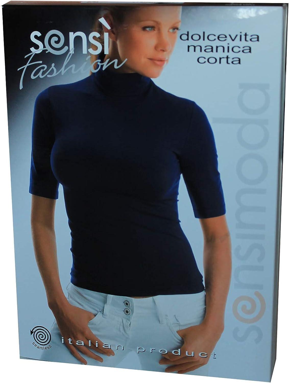 SENSI Maglia Donna Dolcevita Manica Corta Microfibra Traspirante Senza Cuciture Seamless Made in Italy