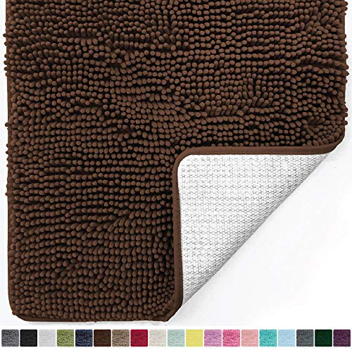 Gorilla Grip Original Luxury Chenille Bathroom Rug Mat, 30x20, Extra Soft and Absorbent Shaggy Rugs, Machine Wash Dry, Perfect Plush Carpet Mats for Tub, Shower, and Bath Room, Brown (Throw Brown Chocolate Rug)