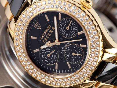 Damenuhren schwarz gold  DETOMASO Damen-Armbanduhr Analog Quarz DT3002-B: Amazon.de: Uhren