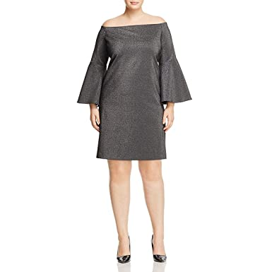 a623d627465 Vince Camuto Specialty Size Womens Plus Size Off Shoulder Bell Sleeve  Metallic Ponte Dress Rich Black