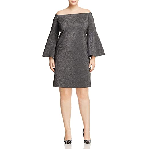 1649040cf1c Vince Camuto Specialty Size Womens Plus Size Off Shoulder Bell Sleeve  Metallic Ponte Dress at Amazon Women s Clothing store