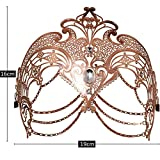 Thmyo Womens Laser Cut Metal Venetian Masquerade Pretty Halloween Costume Mask (Rose Gold)