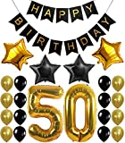 50th BIRTHDAY DECORATIONS ,50 Years Old Party balloons, Happy Birthday Black ...