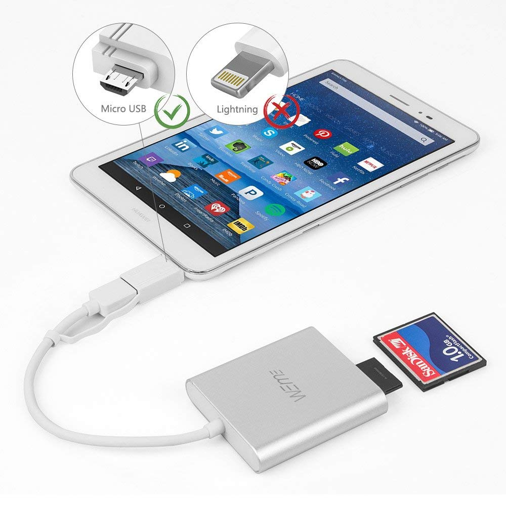 Compact Flash CF Card Reader, WEme Aluminum USB 3 0 Micro SD Card Converter  with OTG Adapter for Extreme Pro Professional Sandisk, Lexar SDHC Memory