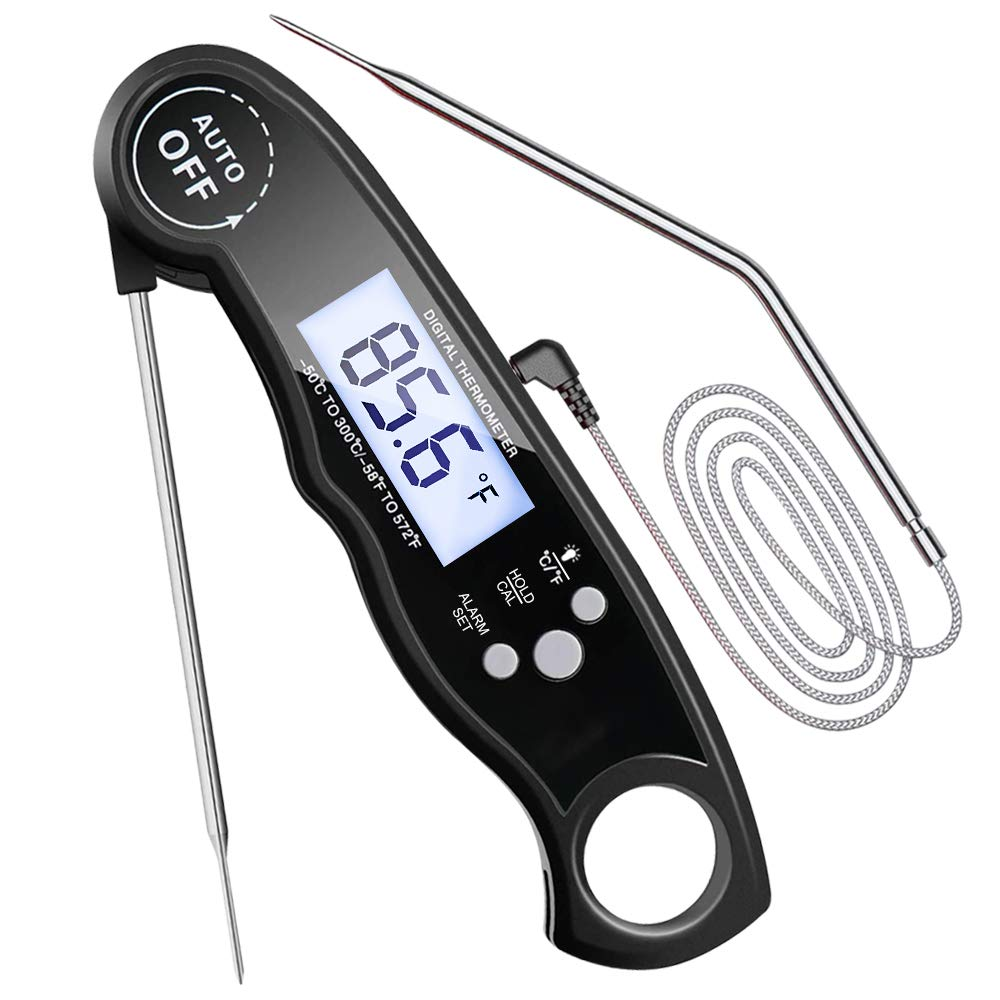 Electype Instant Read Meat Thermometer Dual Probe Ultra Fast Best Waterproof Digital Food Meat Thermometer with Alarm Function and Backlight Calibration,for Grilling Outdoor Cooking BBQ