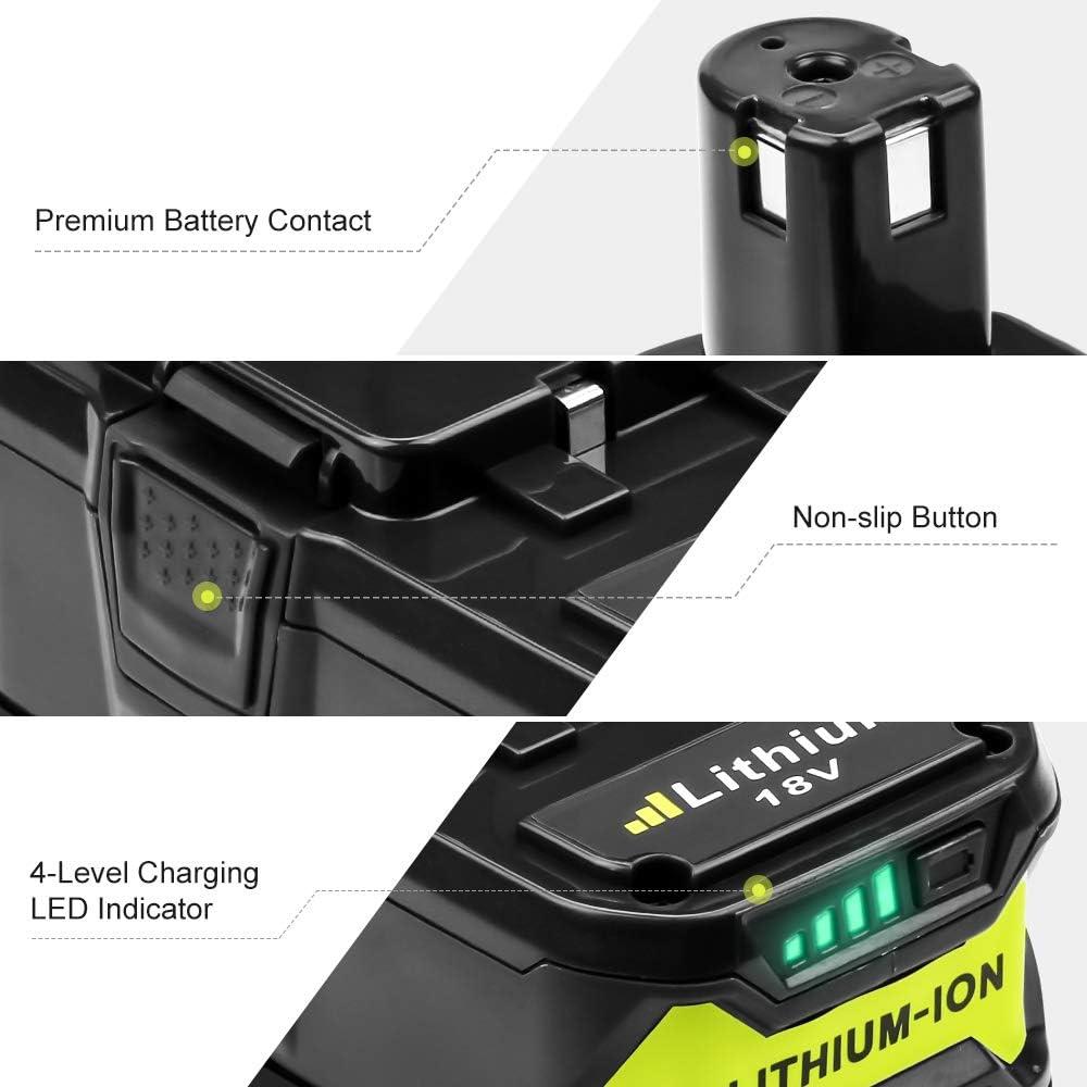 RB18L50 RB18L40 RB18L25 RB18L15 RB18L13 P108 P107 P122 P104 P105 P102 P103 2 X DOSCTT Reemplazo para Ryobi 18V 5500mAh Li-Ion Bater/ía ONE