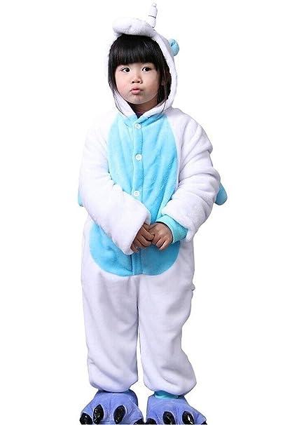Auspicious beginning Traje cosplay azul del unicornio de los niños pijama Animal Onesie Sleepsuit Ropa de