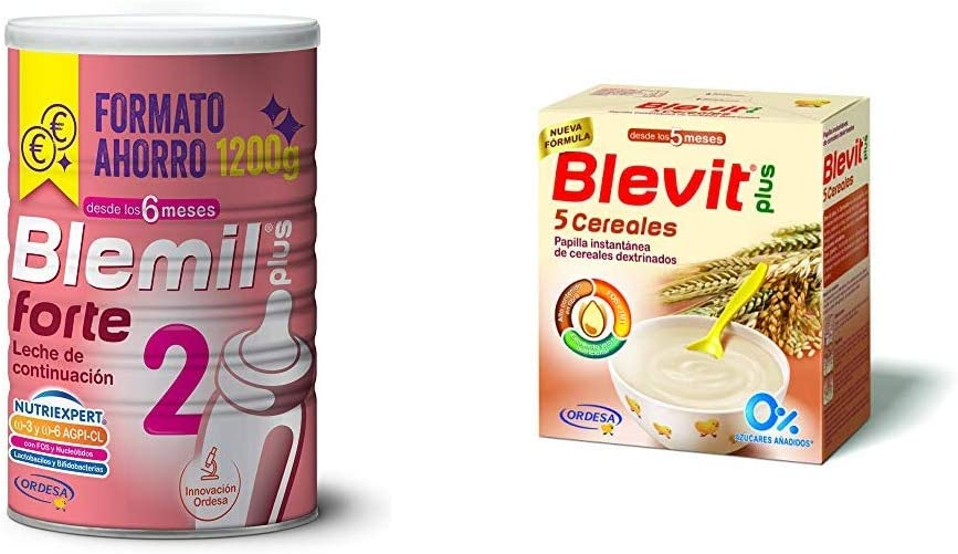 Blemil Plus Forte 2, Leche de continuación para bebé - Pack de 2 x 1200 g - Total: 2400 g + Blevit Plus 5 Cereales para bebé - Pack de 2 x 300 g - Total: 600 g: Amazon.es: Alimentación y bebidas