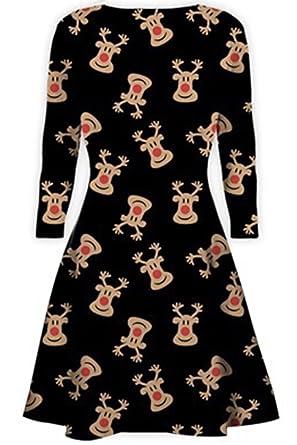 f8011fa3e6 Womens Christmas Swing Dress Ladies Xmas Santa Rudolph Olaf Gift Present  Snowman Plus Size (UK 16 18) Red Nose Reindeer Black  Amazon.co.uk  Clothing