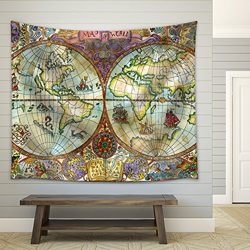 - wall26 - Illustration - Vintage Illustration with World Atlas Map on Antique Paper. Pirate Adventures - Fabric Wall Tapestry Home Decor - 68x80 inches
