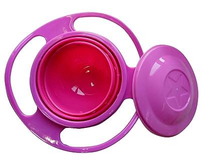 360 rotación de bebé alimentación Bowl Non Spill Gyro plato infantil para niños los niños rosa