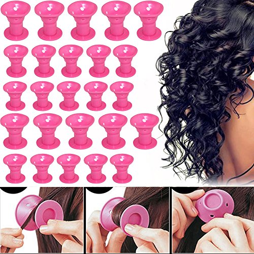 Hair Rollers Silicon Curlers Hair Style Rollers Soft Magic DIY sleep Hair Style Tools with 4 pces Nat Cap set