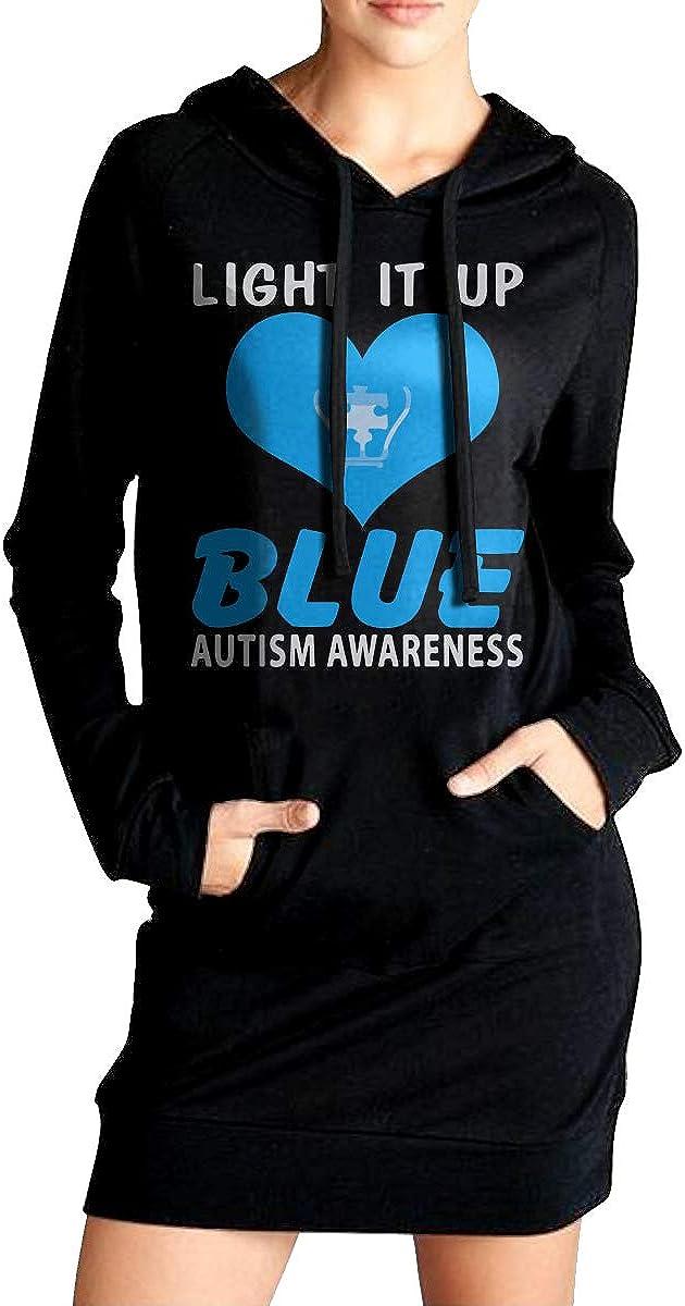 NVWEIYIJW Light It Up Blue Autism Womens Long Hoodie Womens 100/% Cotton Sweatshirt for Women