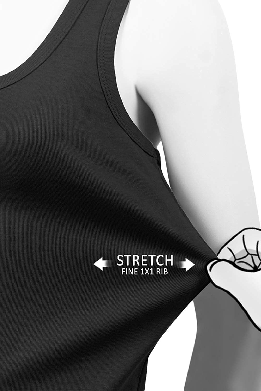 1x1 JC DISTRO Womens Scoop Neck Mini-Ribbed Stretch Cotton Tank Tops