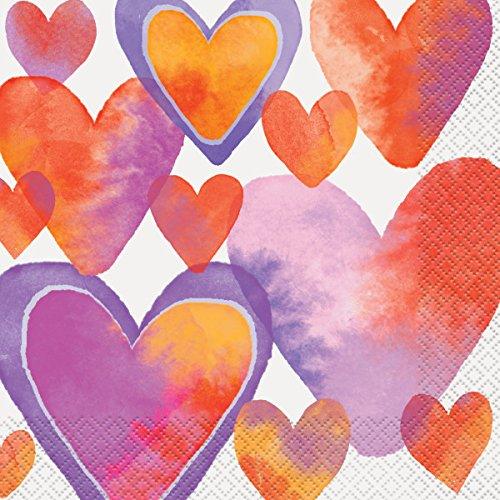16-Count Unique 58562 Watercolor Hearts Valentines Day Party Napkins
