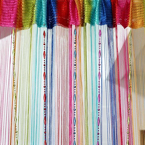 Colorful Decorative String Line Tassel Curtain With Beads Door Window Panel Room Divider,size:100cm x 200cm