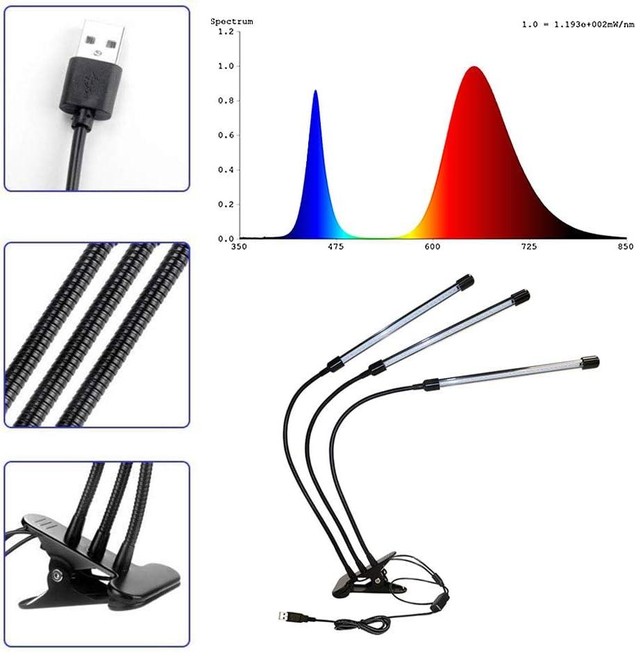 5 livelli di luminosit/à Blu Spectrum Timer 3H// 9H// 12H con collo di cigno regolabile e clip DASKOO PL-09 30W tre teste Luci per piante Rosso//Blu//Rosso