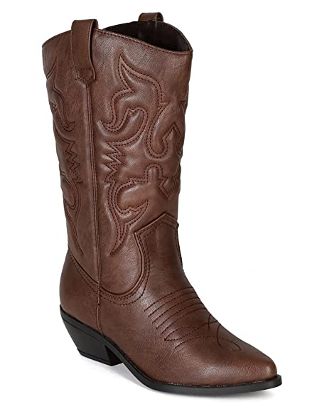 f45eee737920 Soda BE52 Leatherette Women Embroidered Pointy Toe Cowboy Boot - Tan