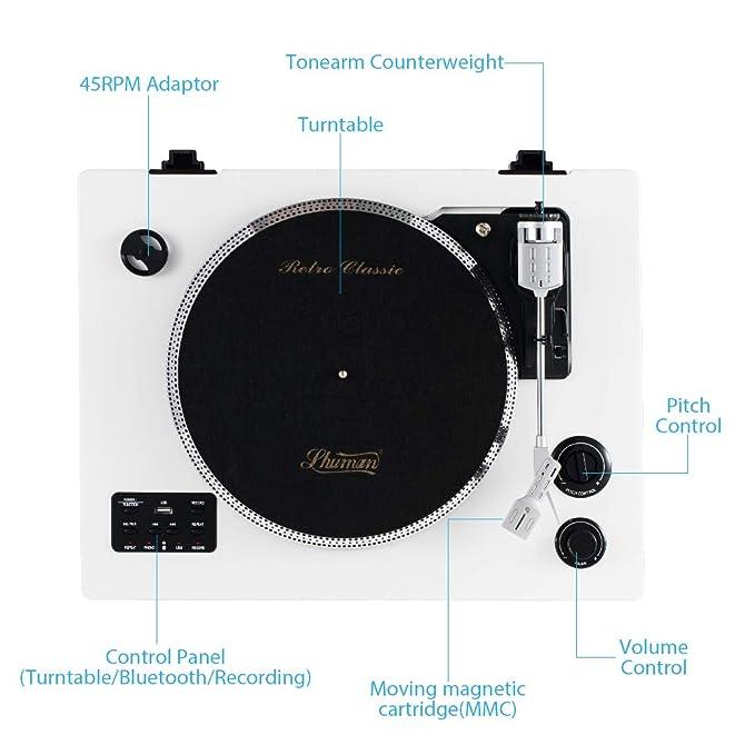 Shuman Giradiscos con Caja Magnética Móvil (MMC) Bluetooth , Altavoz de Madera RMS de 30 Vatios, Grabador de Madera Real, Grabación , Entrada ...