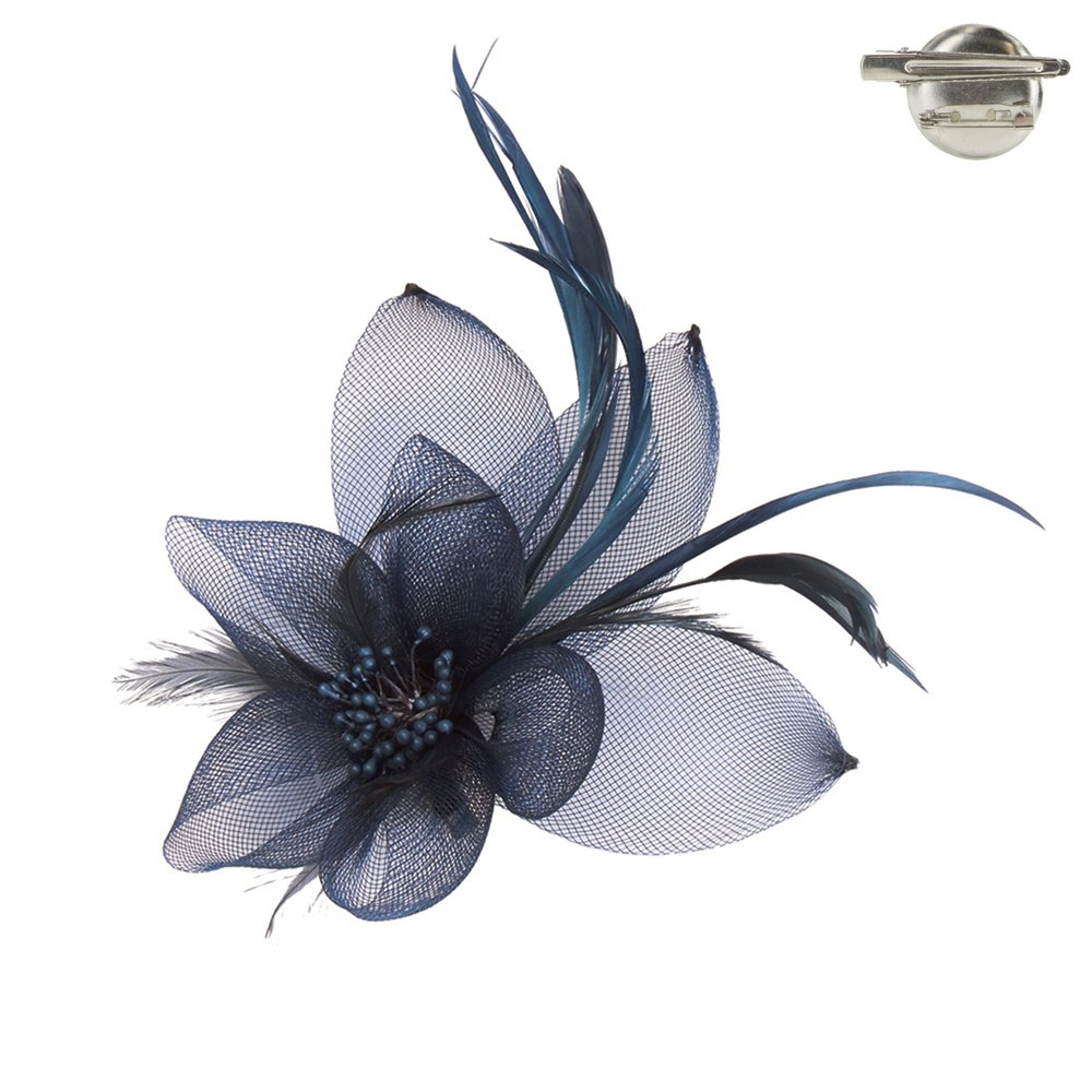 Fashion 21 Women's Feather & Mesh Flower Fascinator with Hair Pinch Clip and Head Band (Navy - B)