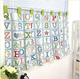 Childish Alphabet Pattern Short Curtain Kids Window Tier 23.5 by 55 Inches For Sale