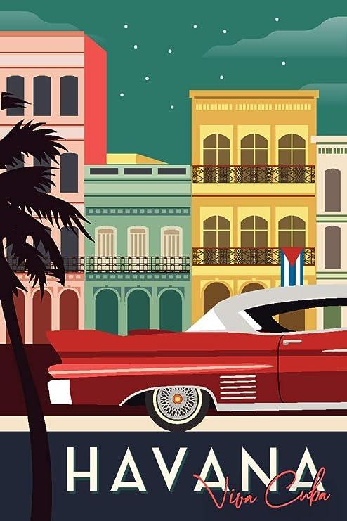 Havana, Cuba – Edificios y Vintage Coche – Vector: Amazon.es: Juguetes y juegos