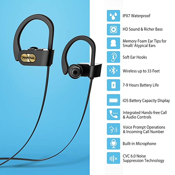 EC Technology Cuffie Headphones Bluetooth Wireless Stereo Bluetooth in Ear Earbud Headphones IPX7 Waterproof V4.1 Sport Earphone for Gym Running Workout 6 Hours Play Time Noise Supperssion Headset
