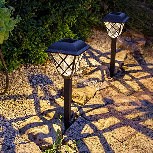 Set of 4 Traditional Warm White LED Solar Garden Stake Lights by Lights4fun