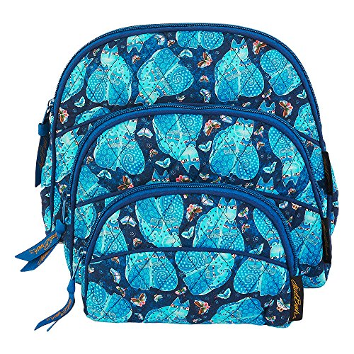 Laurel Burch Quilted Cotton 3pc Cosmetic Purse Set (Indigo Cats)