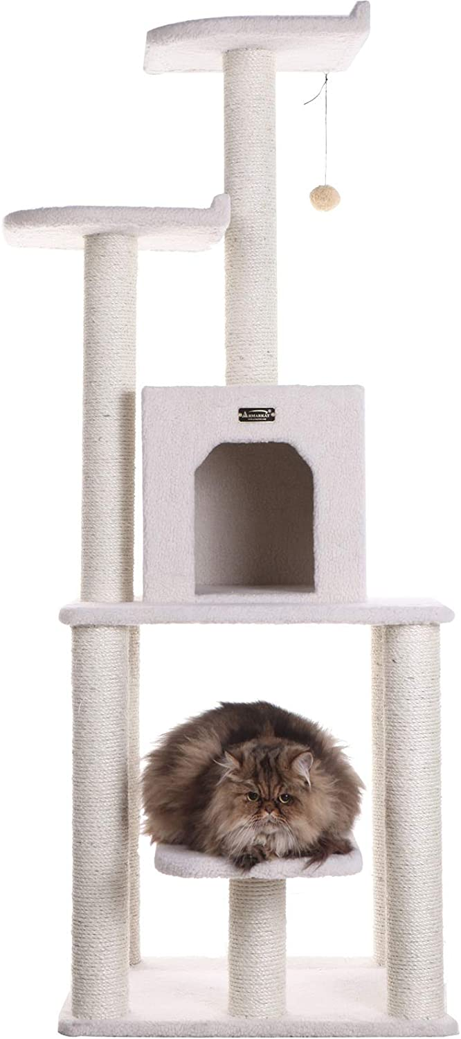 Armarkat 62-Inch Cat Tree, Model B6203, Ivory : Cat Tower : Pet Supplies