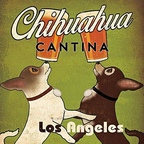 Brew Beer Art Print - Buyartforless Double Chihuahua Cantina Brew Los Angeles by Ryan Fowler 12x12 Beer Signs Dogs Animals Art Print Poster Vintage