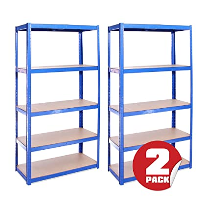 Garage Shelving Units: 180cm x 90cm x 40cm | Heavy Duty Racking Shelves for  Storage - 2 Bay, Blue 5 Tier (175KG Per Shelf), 875KG Capacity | For