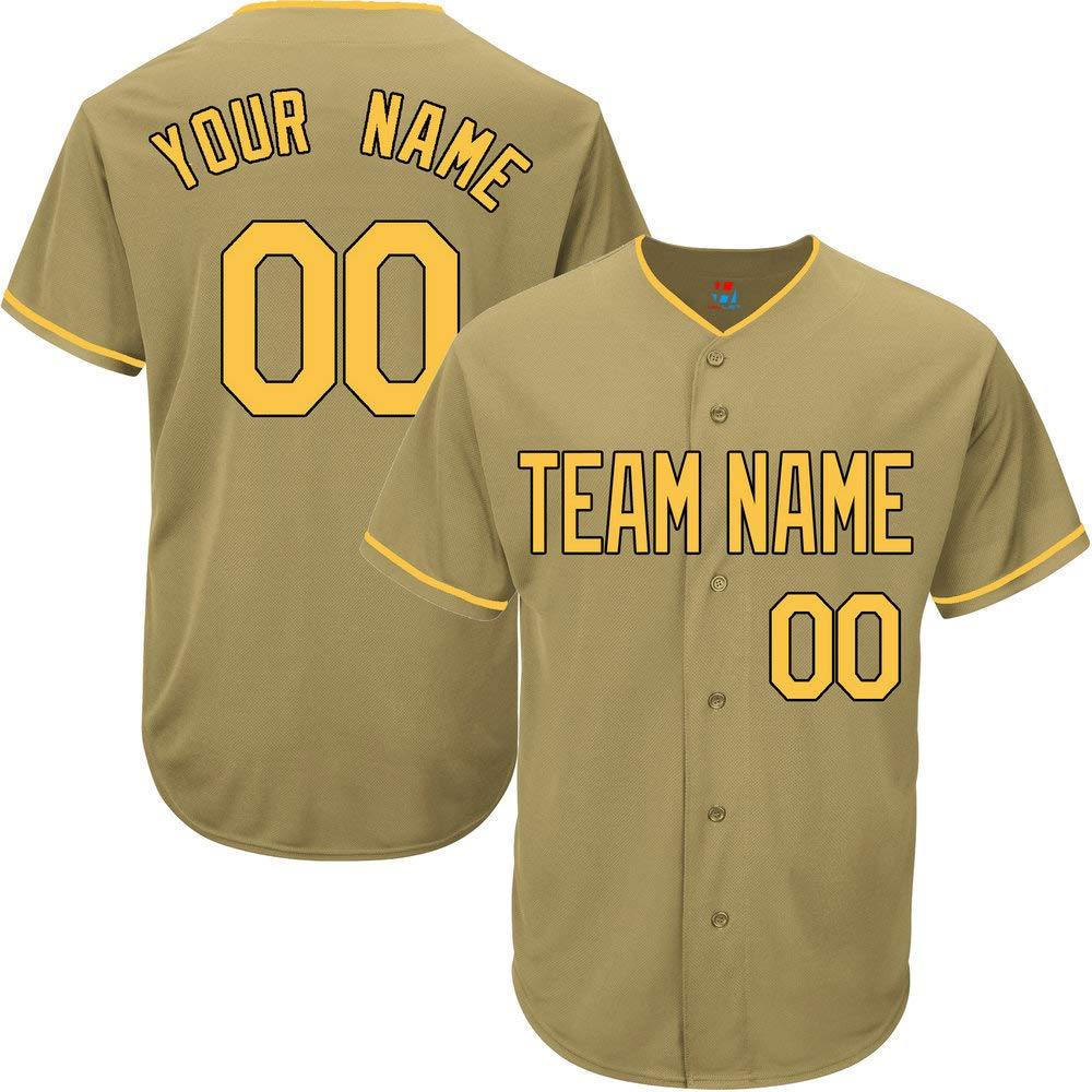 Gold Custom Baseball Jersey for Men Game Embroidery Team Player Name & Numbers,Yellow-Black Size XL by Pullonsy