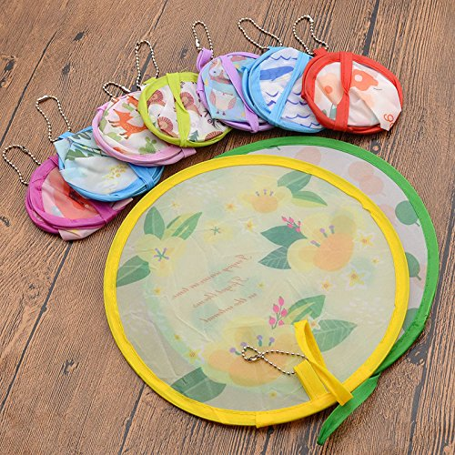 MAZIMARK--Cute Portable Fans Foldable Small Round Hand Fan Cooling Pocket Color - Mall Perimeter Shops
