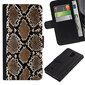 iKiki Tech / Cartera Funda Carcasa - Snake Pattern Wallpaper Art Brown Black - Samsung Galaxy Note 4 SM-N910