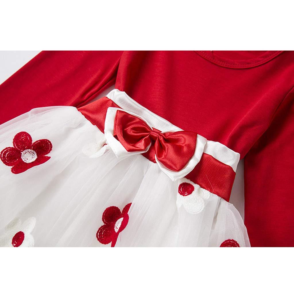 pour 6mois-5ans B/éb/és Filles Robe Manches Longues Arc de Fleurs Robe en Maille