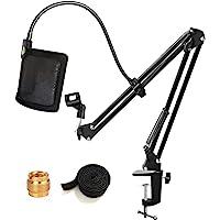 Tencro Microfoonstandaard met Pop Filter Heavy Duty Suspension Boom Schaar Arm Stand Mic Clip Houder U-vormige Voorruit…