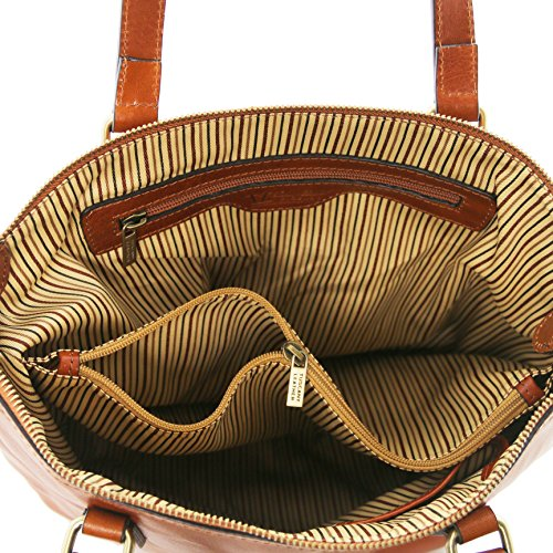 81414844 - TUSCANY LEATHER: OLGA - Sac shopping en cuir - Grand modèle, Miel