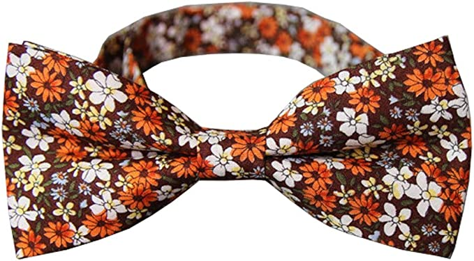 1960s Men's Clothing D&L Menswear Brown Orange Floral Bow Tie Adjustable Neck Wedding Party Bowtie  AT vintagedancer.com