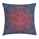 20 green machine purple - Purple Throw Pillow Cushion Cover by Ambesonne, Boho Paisley Pattern Tribal Ethnic with Asian Elements Cultural Themed Art Print, Decorative Square Accent Pillow Case, 20 X 20 Inches, Purple Green