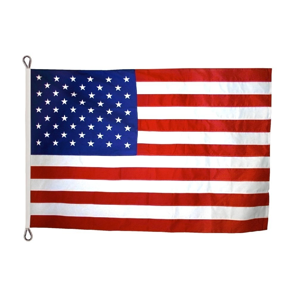 US Flag 8 x 12 ft: 100% American Made - 2 Ply Polyester - Embroidered Stars and Sewn Stripes