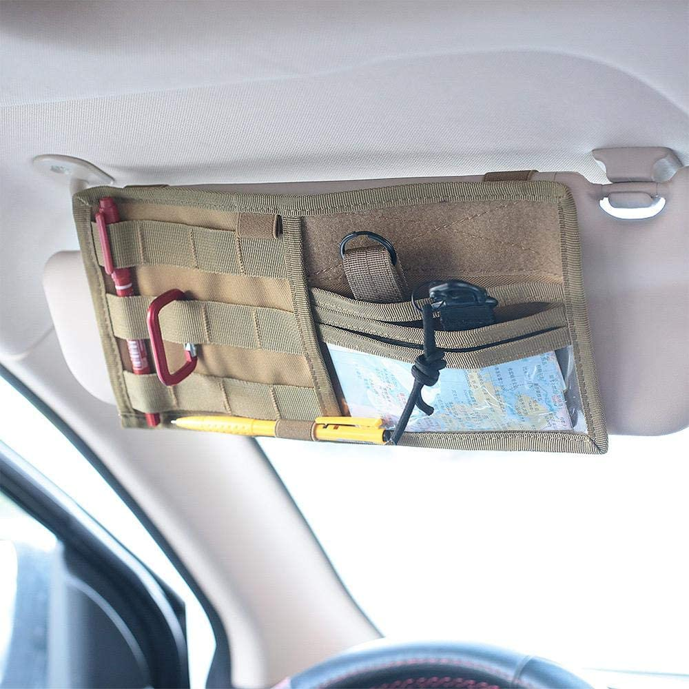 Volwco Car Sun Visor Organizer Road Trip Essential Gift for Any Driver MOLLE Visor Panel Storage Holder Pouch Bag